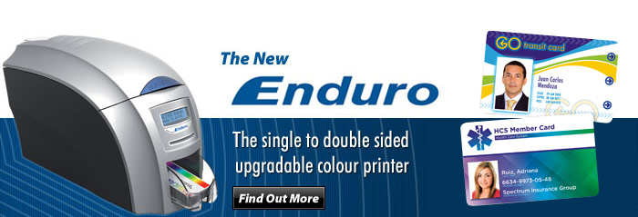 The New Enduro, The single to double sided updradable colour printer, Find Out More.